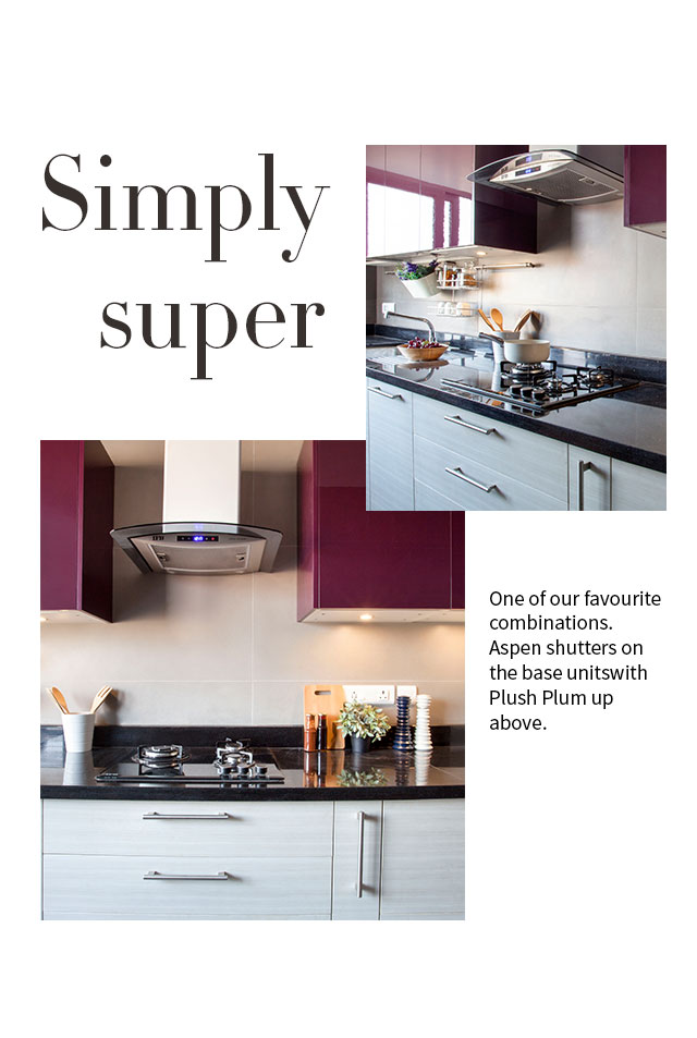 Simply Super Kitchen Design - Aspen Shutters on the base with Plush plum up above - IFB Modular Kitchen