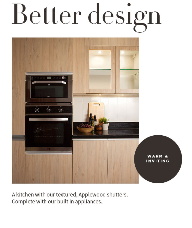 IFB Modular Kitchen Shutters built with Applewood