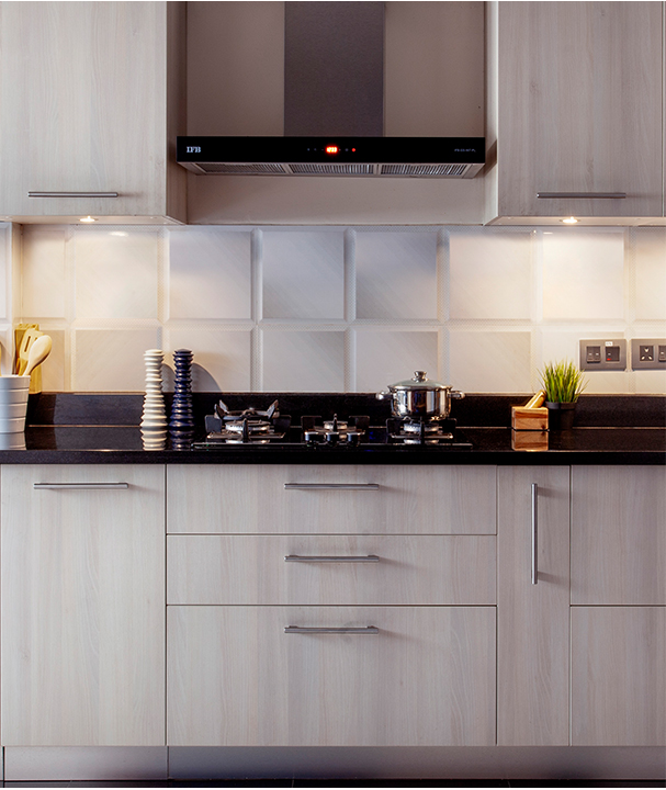 Quiet Grace | Finished Project with Acacia shutters and Jet black countertop - IFB Modular Kitchen