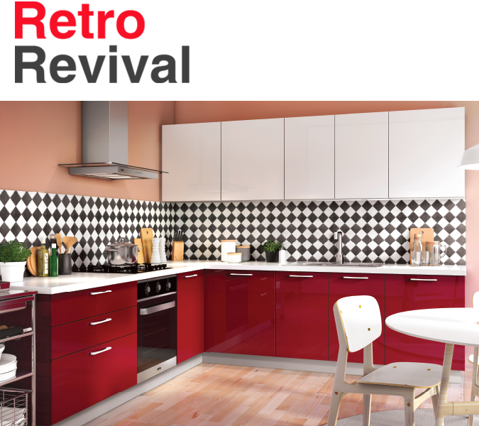 Retro Revival Kitchen Design | Kitchen Collection - IFB Modular Kitchen