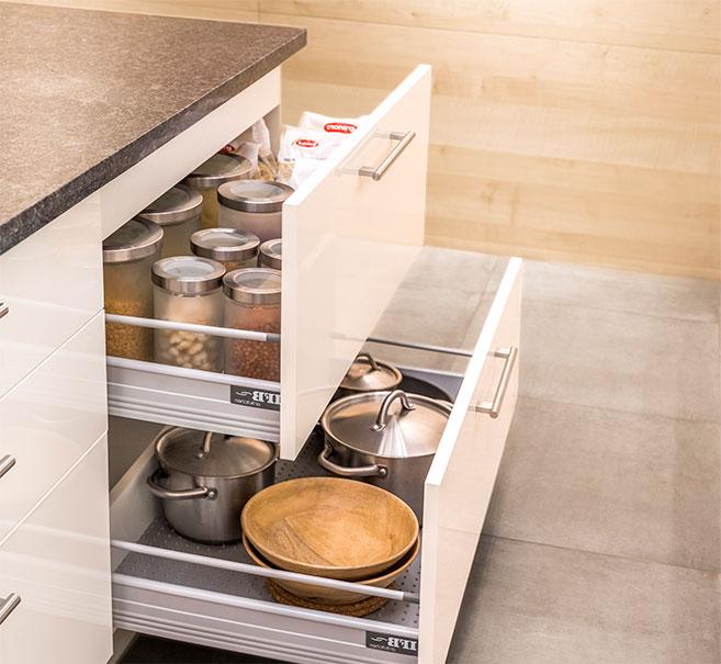 IFB Kitchen Drawers | Soft Close Hardware | Kitchen Storage - IFB Modular Kitchen